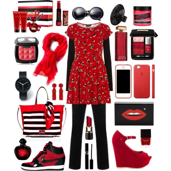 """red black"" by hannahsweety on Polyvore"