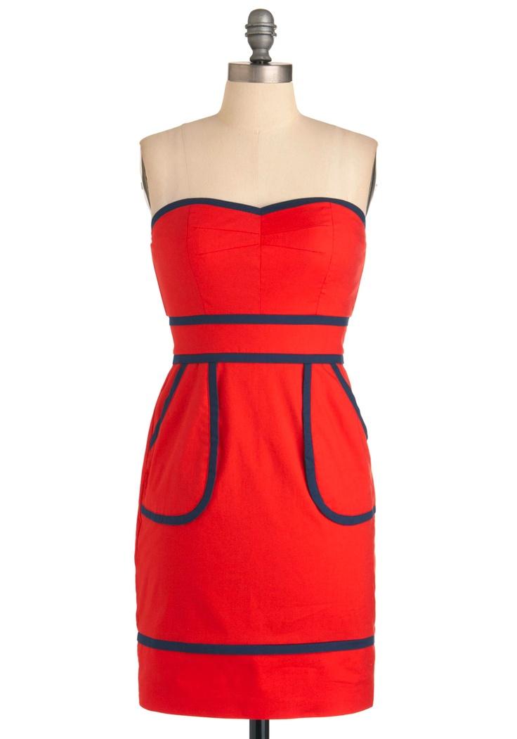 Sweet Pacific Dress - Modcloth.: Summer Dresses, Colors Combos, Red Dresses, Cute Dresses, Sweet Pacific, Pacific Dresses, Bold Colors, Modcloth Com, Modcloth Dresses