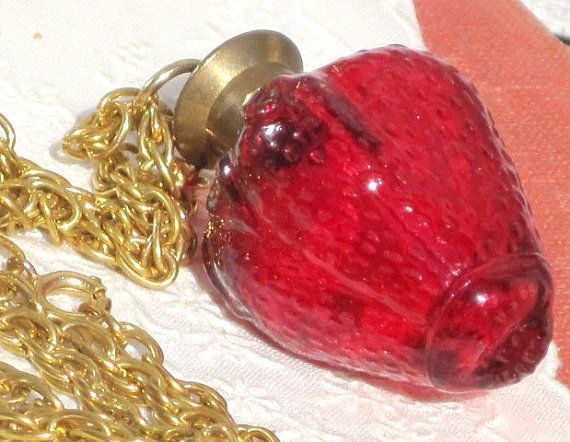 Vintage Red Strawberry Perfume Glass Bottle Necklace Pendant, Vintage ...