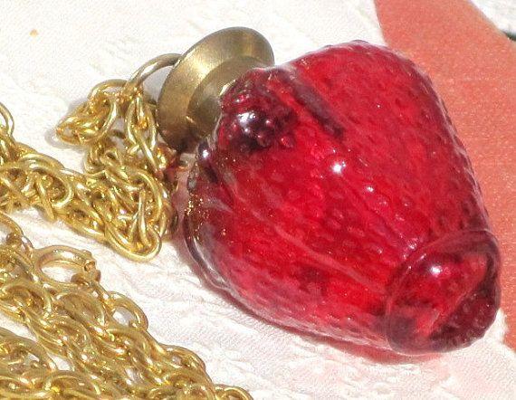 Vintage Red Strawberry Perfume Glass Bottle by VintagebyKanina, $70.00