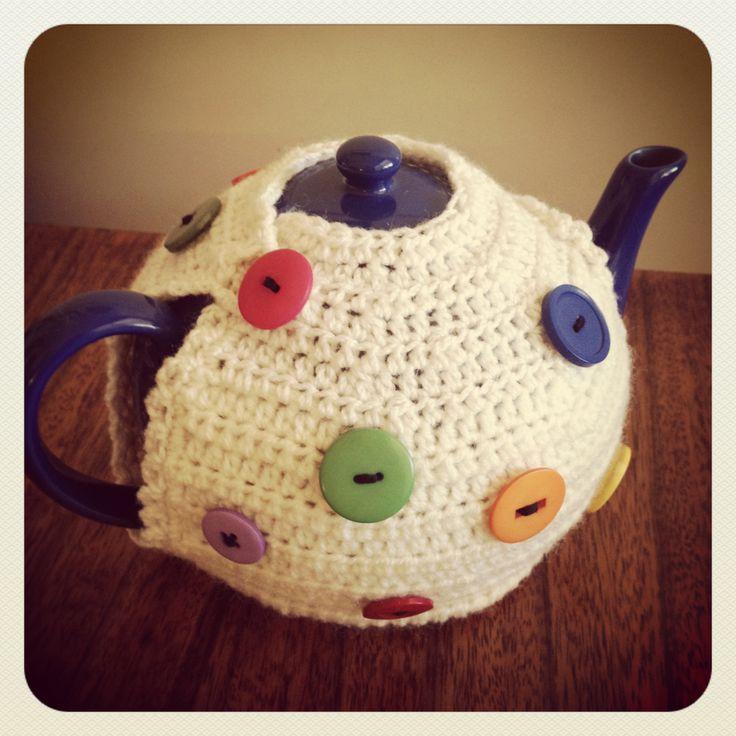 Crochet & button tea cosy by Lauren Bittner.