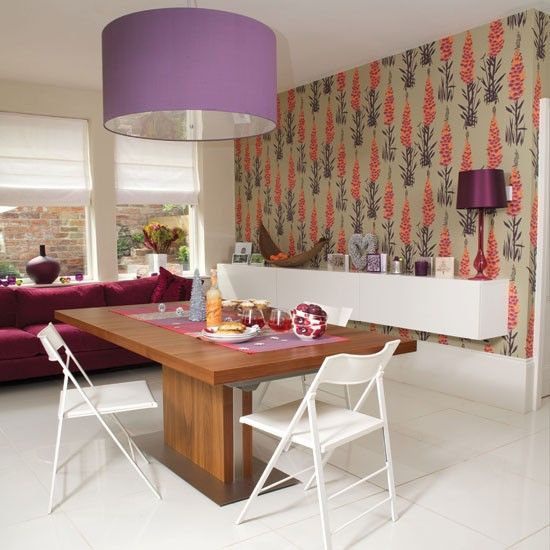 Modern Dining Room With Wallpaper