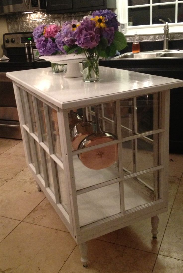 Kitchen island made out of old windows!! LOVE!