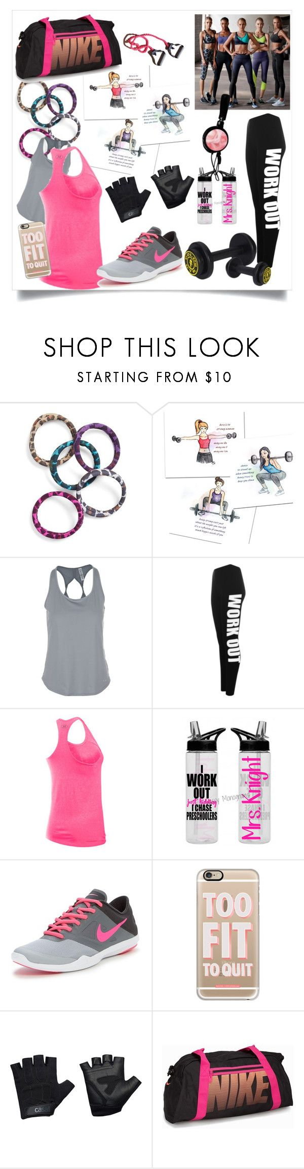 """""""gym outfit"""" by ane-ana ❤ liked on Polyvore featuring L. Erickson, Under Armour, WearAll, NIKE, Casetify, Victoria's Secret and Casall"""