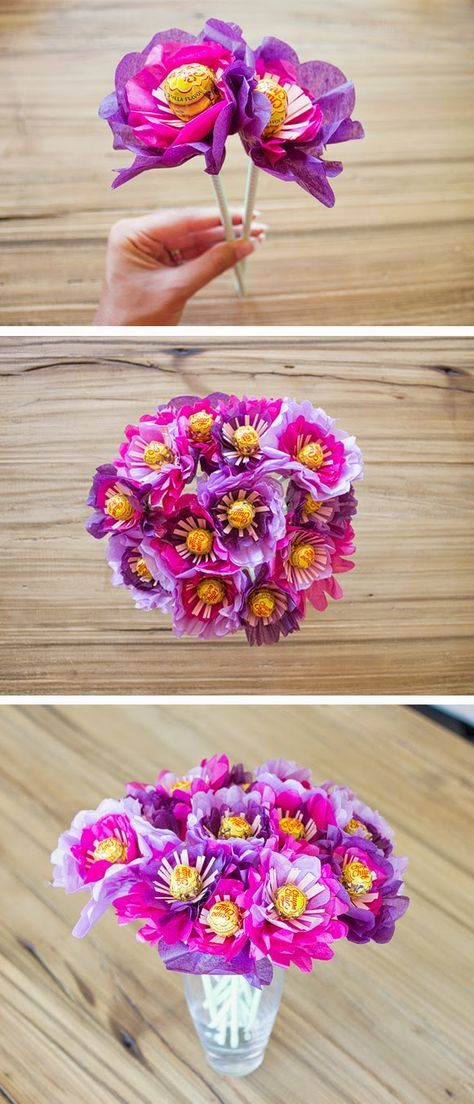 DIY Valentines Day ideas – a bouquet of flowers made out of tissue paper and lollipops