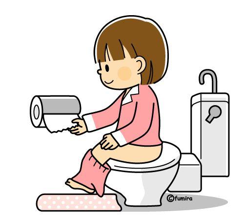 トイレに行く女の子のイラスト(カラー)