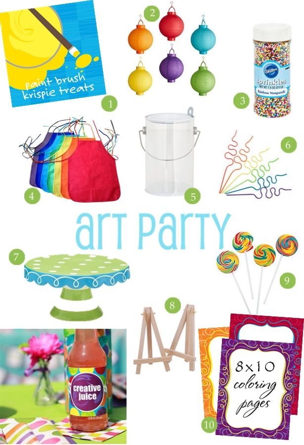art party ideas and supplies {style board} | thecelebrationshoppe.com Love the colored lanterns