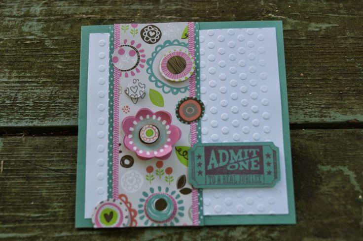 Lollydoodle paper, dot embossing folder, Kaboom June 2014 SOM