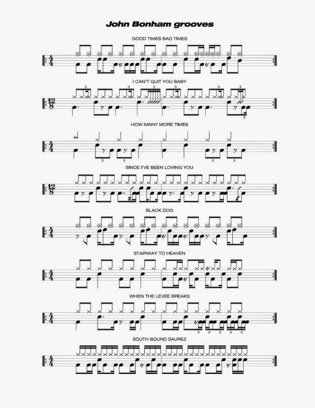 John Bonham - Grooves 1 : notas de bateria : Pinterest : John bonham
