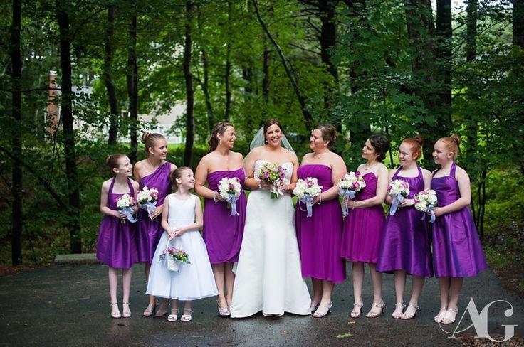 Magenta, bridesmaid dress, junior bridesmaid, flower girl, bridal party, flower bouquet, green orchids, Lake Pearl Wedding #aubreygreenephoto