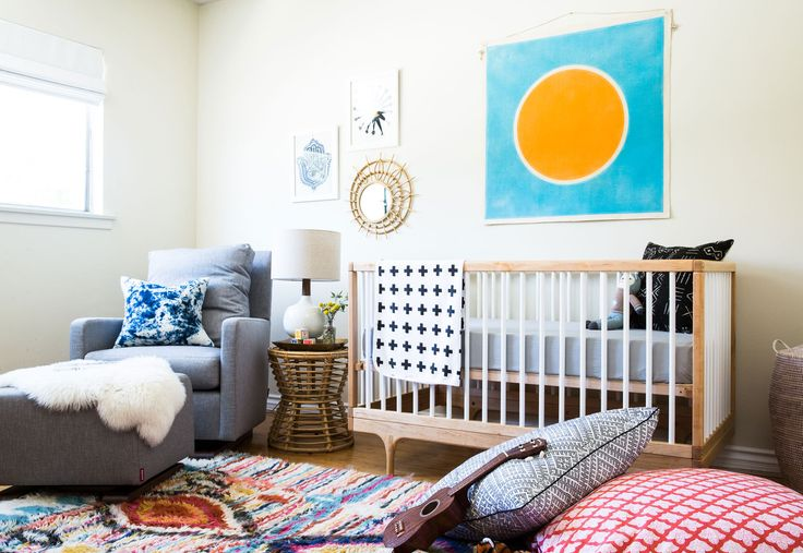Before & After: A Colorful Nursery in Southern California. eclectic baby bedroom. baby boy. kids room. home decor and interior decorating ideas