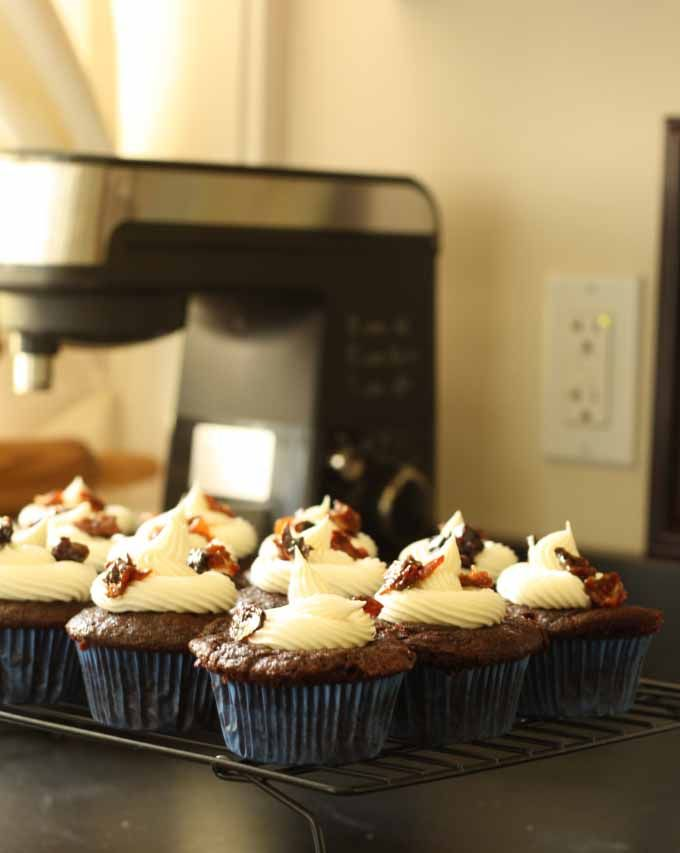 Chocolate Coffee Cupcakes with Whiskey Buttercream Frosting and Candied Bacon #dessert