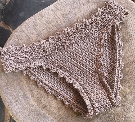 This listing is PDF CROCHET PATTERN for Lorelei Bikini Bottom, Not finished item:) Skill level: EASY, INTERMEDIATE You should know the basic stiches: chain stitch, single crochet, slip stitch, double crochet. All the other sticthes used in the pattern are explained.  This pattern is written in standard American terms and includes 40+ photos of the process. I have made chart for the lucky clover. This pattern also have one alternative edging option for the waist (last picture above, pink…