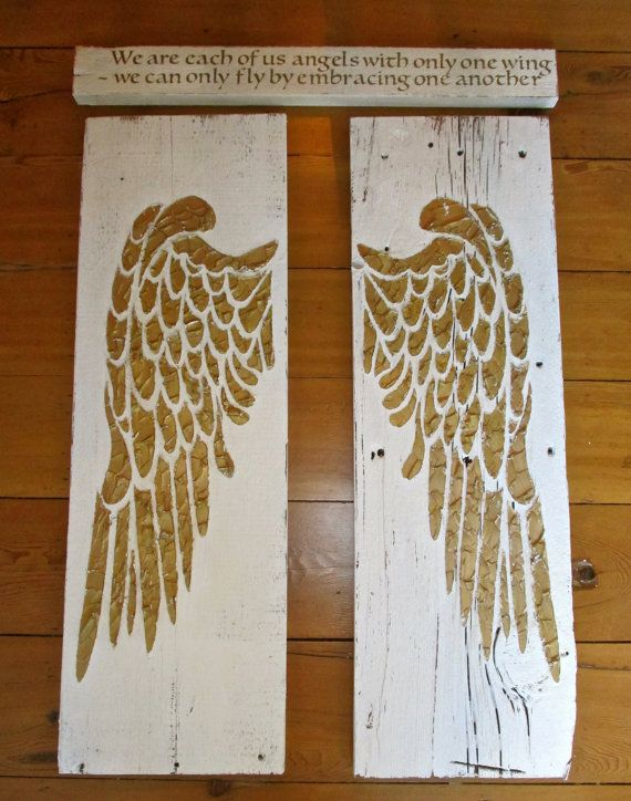 Angel Wings, Large Angel Wings, Angel Wing Decor, Angel Wing Wall Art, Wood Angel Wings, Recycled Wood, Inspirational Quote, Two Piece Art