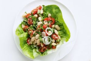 Burghul, tomato and bean salad in lettuce cups