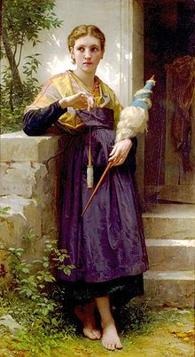 The Spinner by William-Adolphe Bouguereau shows a woman hand-spinning using a drop spindle. Fibers to be spun are bound to a distaff held in her left hand.
