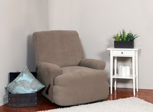 Montgomery II Mink Recliner Slipcover. Deeply embossed box pattern with a soft luscious surface, beige form fit slip cover upholstery, living room, beautiful interior design, chic home decor