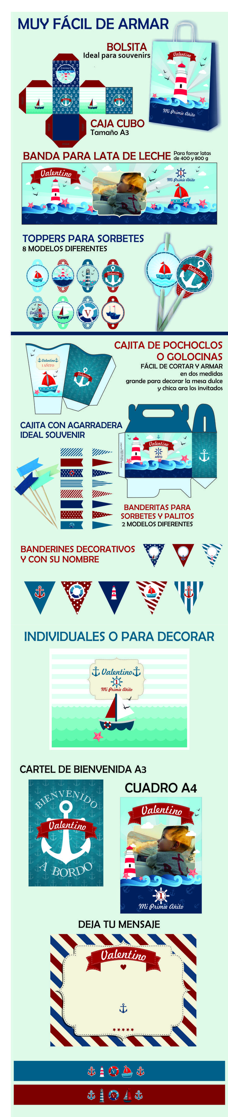 super kit imprimible nautico para decorar tu cumpleaños com barcos, fatos, mar