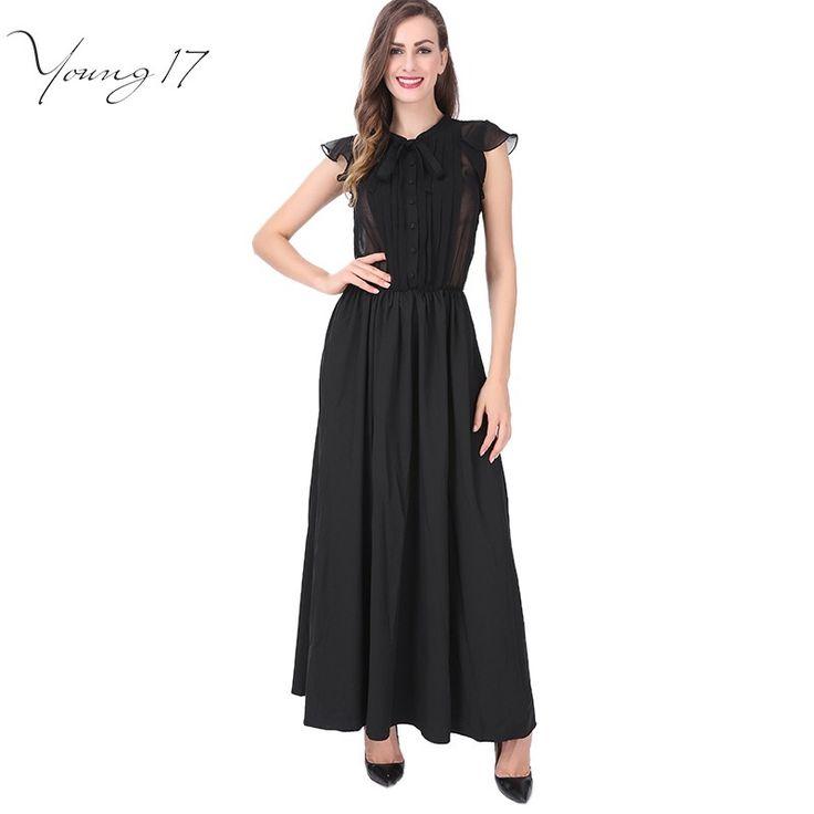 Young17 уличная мода длина пола dress 2017 лето элегантный однобортный Рюшами с коротким рукавом прозрачный черный dress maxi dress купить на AliExpress