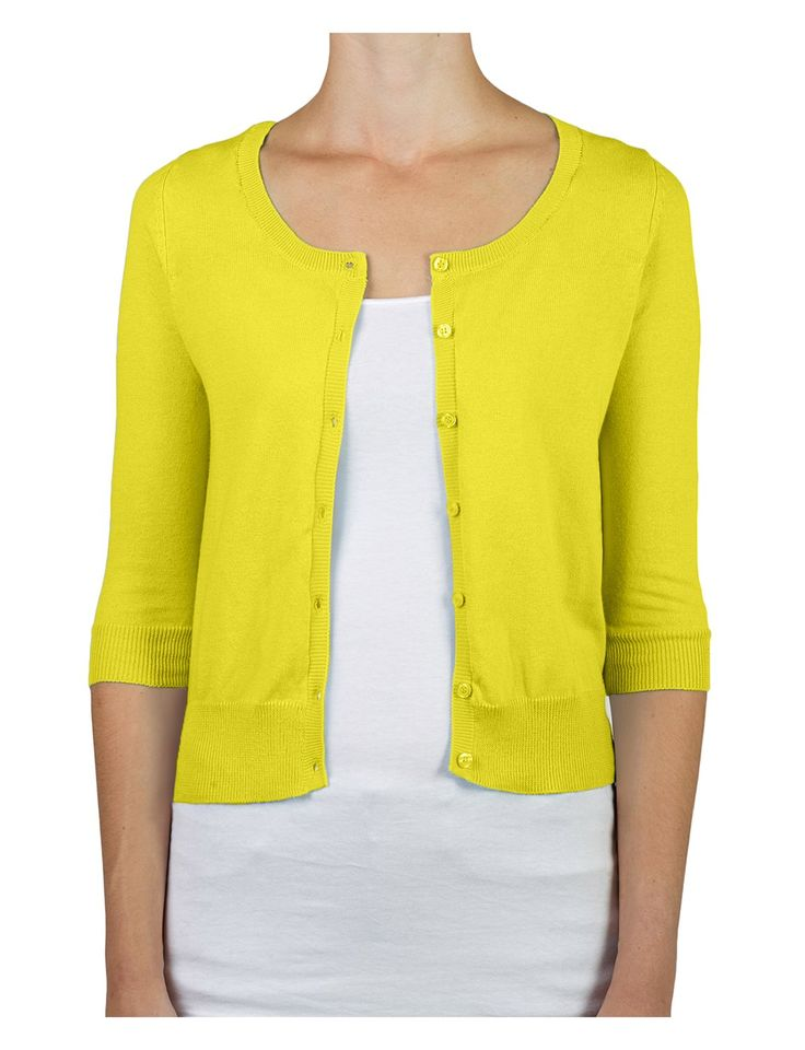 RubyK Womens Clean Rib Fine Knit 3/4 Sleeve Cardigan Sweater at Amazon Women's Clothing store: