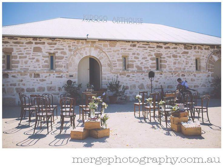 Peak Lane's rustic wedding ceremony package. Mixed wooden chairs. Kidogo wedding Fremantle. peak-lane.com