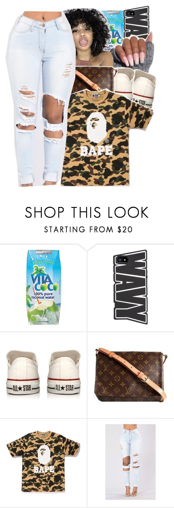 """""""im too wavy but you won't chase me"""" by geazybxtch24 ❤ liked on Polyvore featuring Vita Coco, Converse, Louis Vuitton and A BATHING APE"""