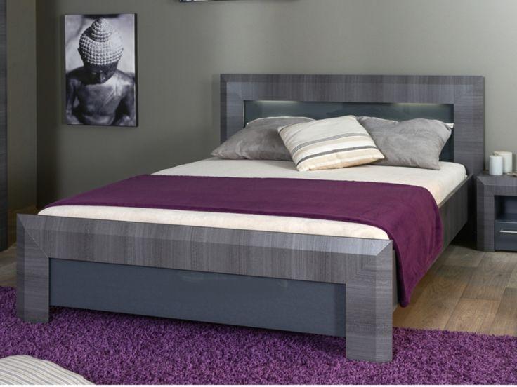 Lit BRITANY - 140x190cm - MDF finition orme gris et LEDs
