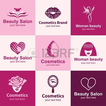 logo idee icone piane salone di bellezza impostate per marca