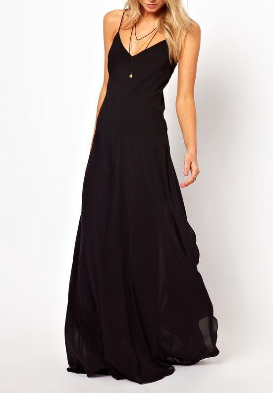 Black maxi dresses.