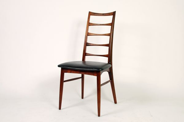 Niels Kofoed dining chair in rosewood Produced by Kofoed Hornslet Padded with black imitation leather