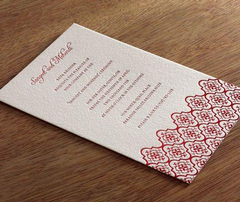 Avani letterpress Sangeet and Mehendi invitation design