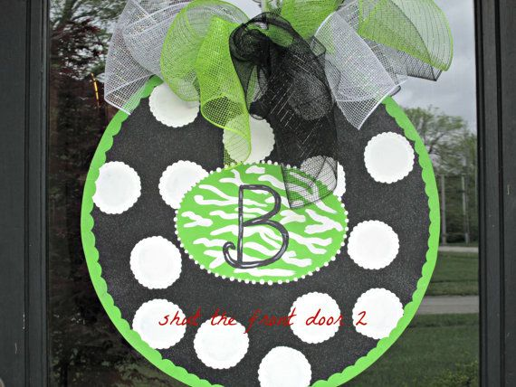 Initial door hanger, initial wreath, wood initial on Etsy, $40.00
