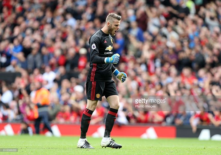 David De Gea of Manchester United celebrates after Paul Pogba of Manchester United heads the ball home to make it 4-0 during the Premier League match between Manchester United and Leicester City at Old Trafford on September 24th, 2016 in Manchester, United Kingdom.