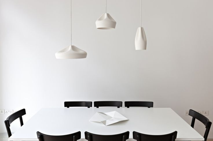 Pleat Box Pendants by Marset: White Tables, Vwbs, Design Interiors, London Flats, Central London, Dining Spaces, Black Chairs, Minimalist Home, Modern Houses Design