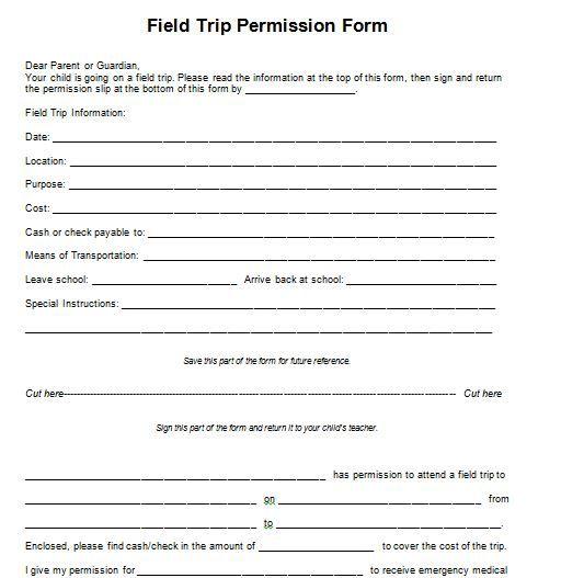 sample field trip permission slips