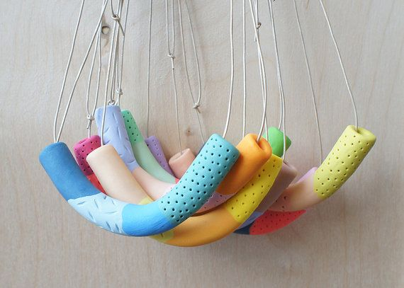 Handmade Scoop Multicolour Bead Necklace on por enaandalbert