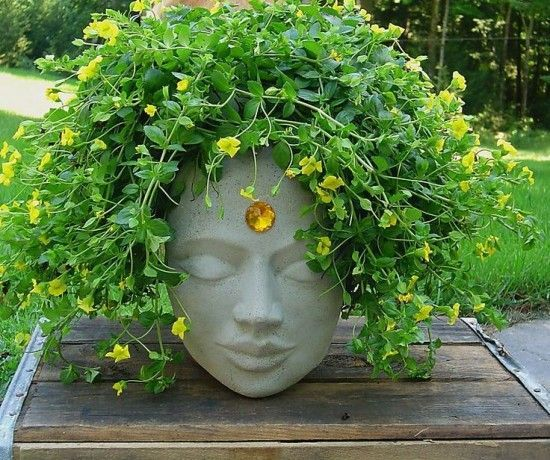 How to make a Cement Head Planter