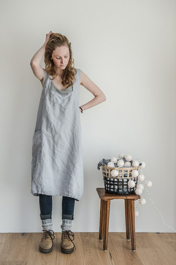 Pinafore / Square cross linen apron /japanese style apron. Washed long linen apron in ice blue/silver grey. (54.00 USD) by notPERFECTLINEN