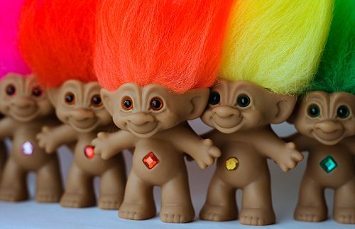 "Pinner said: ""Troll dolls were all the rage amongst tween girls in the mid-60's.  Who could resist these hard plastic creatures with pointy ears and neon tufts of fur growing out of their heads?  They also doubled as good luck charms!"". Wish I still had mine!!!"