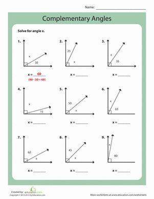 complementary angles middle school geometry worksheets and schools. Black Bedroom Furniture Sets. Home Design Ideas