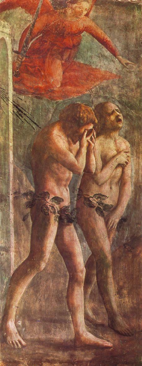 Masaccio, The Expulsion from the Garden of Eden, Brancacci Chapel of Santa Maria della Carmine in Florence 1426-28 Fresco: