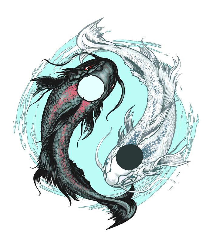 44 best koi yin yang tattoos images on pinterest yin for Black koi fish meaning