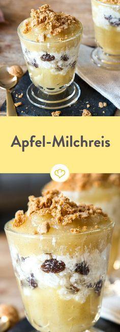 Aus Milchreis, Zimt, Rosinen und hausgemachtem Apfelmus wird Schicht für Schicht ein Hochgenuss. Für Crunch sorgen zarte Amarettini als Topping.