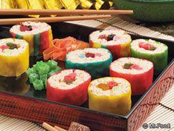 Fruit Roll Sushi  -  really rice crispy treats & fruit roll ups. - kinda an under the sea treat for macy's party