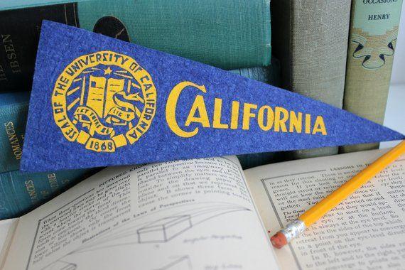 91cb5b9587027 Vintage Felt Mini Pennant Flag University of California   Favorite ...