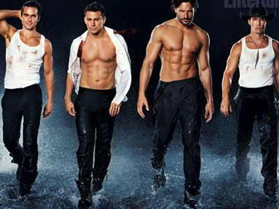 """;-)  WATCH: Channing Tatum and  Cast Strip to 'It's Raining Men':  """"It's Raining Men,"""" the venerable gay anthem from the Weather Girls, is put to good use as Channing Tatum, Matthew McConaughey, Matt Bomer, Joe Manganiello, and Alex Pettyfer take it all off in a new clip from the film Magic Mike."""