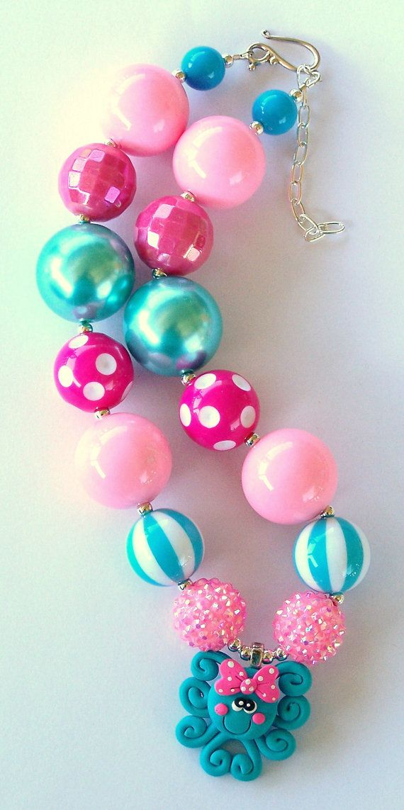 Polymer Clay Octopus Hot Pink, Aqua, Pink Girls Chunky Necklace, Girls Big Bead Necklace,  Girls Necklace