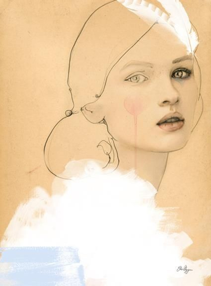 'Grace' by Elisa Mazzone mixed media on colour paper. Detailed face loose everywhere else.
