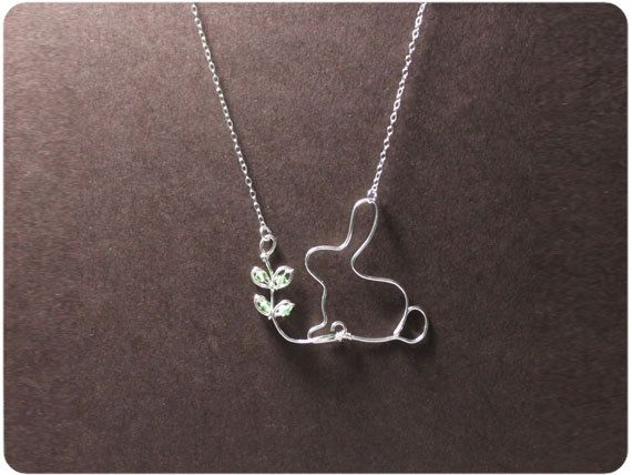 Rabbit and seedling - Sterling Silver Necklace Pendant, Crystal beads. $37.00, via Etsy.