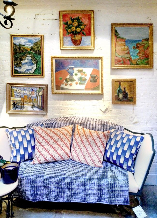 gallery wall, mix of textiles, vintage furniture